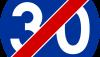Znak C-15: koniec prędkości minimalnej