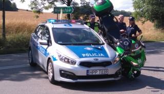Motocyklowy wypadek z udziałem Kawasaki Versys 1000 podczas Tour de Pologne