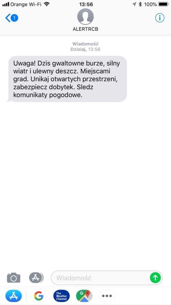 Treść SMS od ALERT RCB